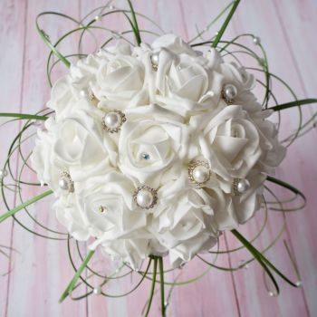 White Rose Diamante Beargrass Hand-Tied Bridal Bouquet