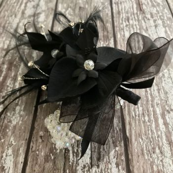 Black Orchid Artificial Silk Flower & Feathers Diamante Crystal Band  Wrist Corsage
