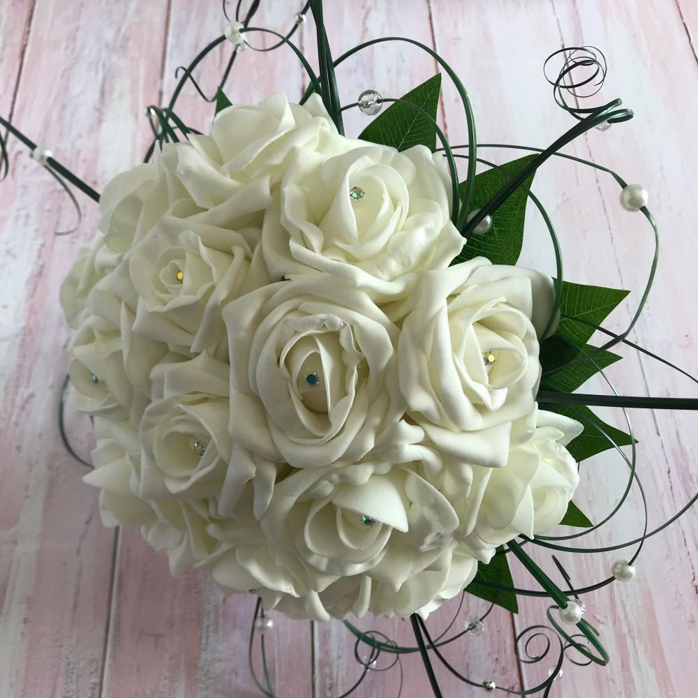 Artificial Ivory Foam Rose Diamante Beargrass Hand-Tied Bridal Bouquet