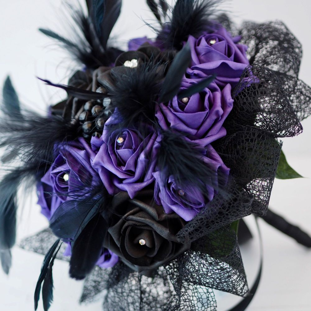 Gothic Bridal Hand-Tied bouquet Purple & Black Foam Rose Feather Plumes