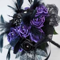 <!--006-->Purple & Black Rose Feather Plumes Gothic Hand-Tied Wedding Bouquet