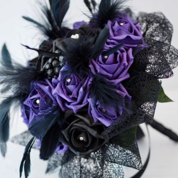 Purple & Black Rose Feather Plumes Gothic Hand-Tied Wedding Bouquet