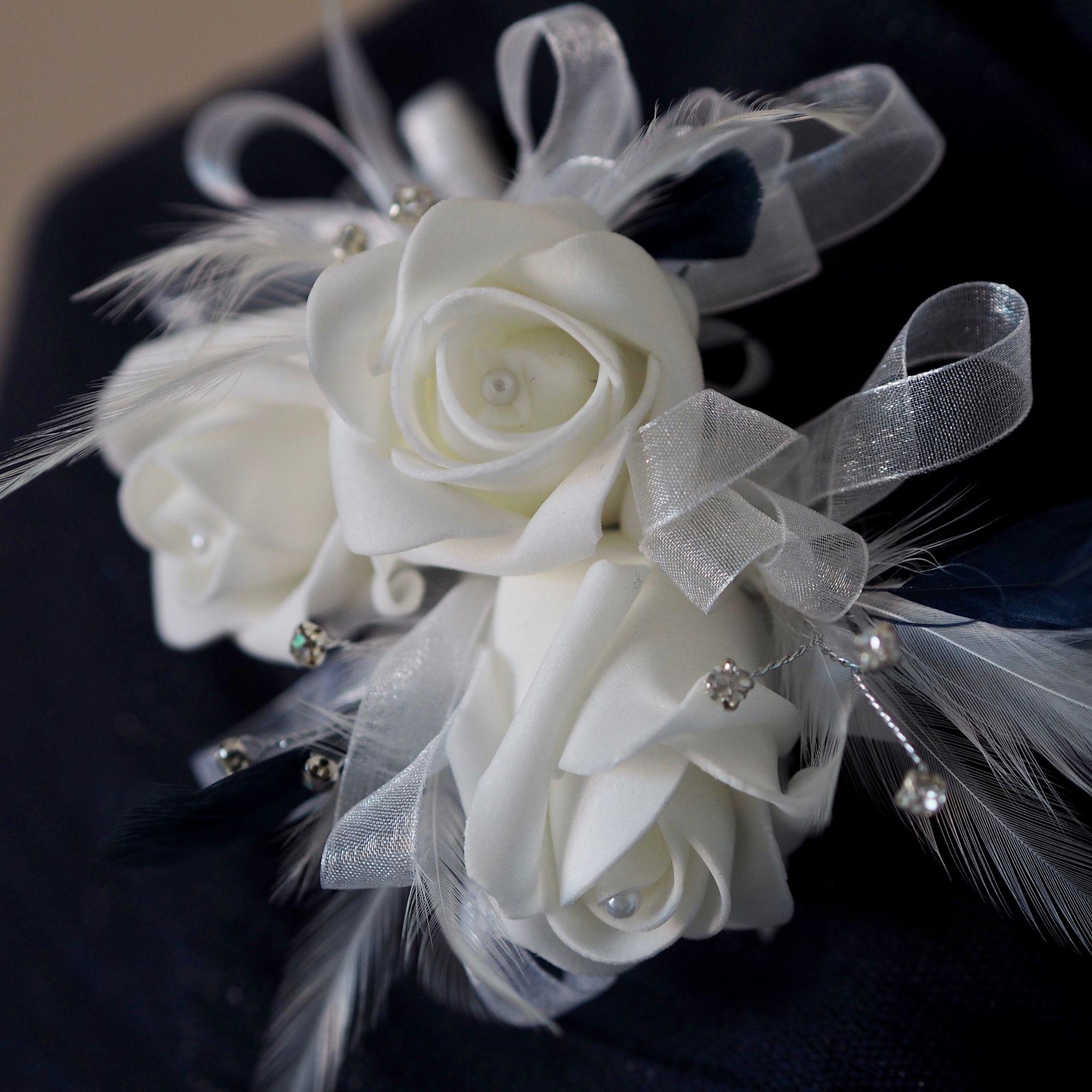 Bespoke white foam wedidng corsage