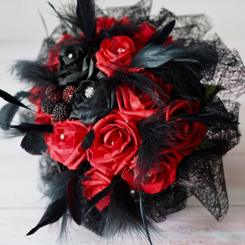Red And Black foam Roses Gothic Style hand-Tied Bridal Wedding Bouquet