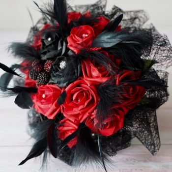 Red & Black Roses Feather Plumes Gothic Hand-Tied Wedding Bouquet