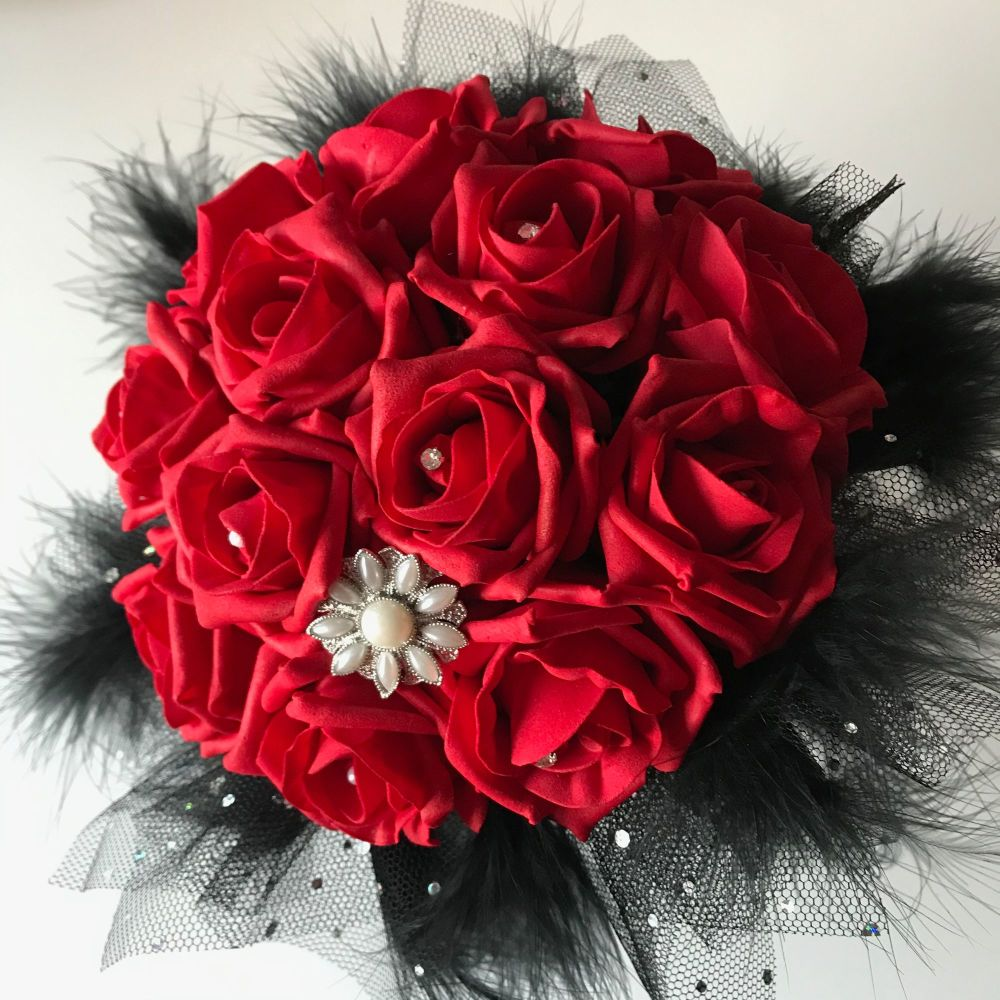 Red Roses Black Feather Diamante Netting  Hand-Tied Gothic Bridal Wedding B