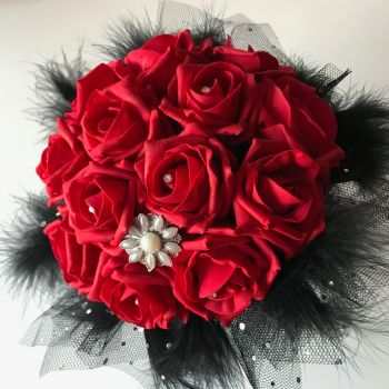 Red Roses Black Feather Diamante Netting  Hand-Tied Gothic Bridal Wedding Bouquet