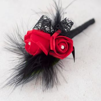 Red Rose With Black Feather Gothic Buttonhole
