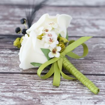 Ivory Roses Black Feathers Lime Ribbon Corsage