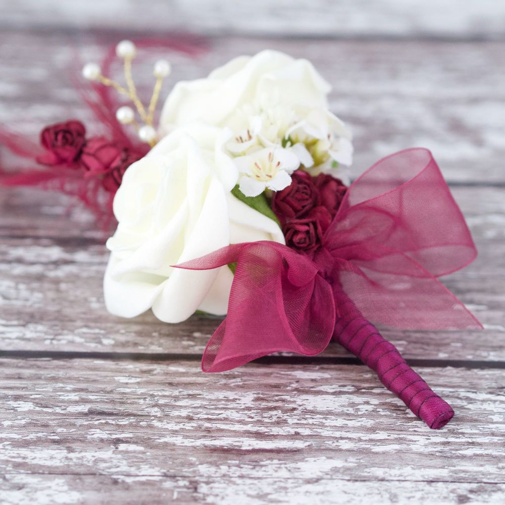 <!--050-->Ivory Foam Roses Gold Pearled Burgundy Feather Wedding Corsage