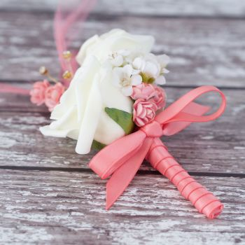 Ivory Rose Feathers Coral Satin Ribbon Gold Diamante Wedding Corsage