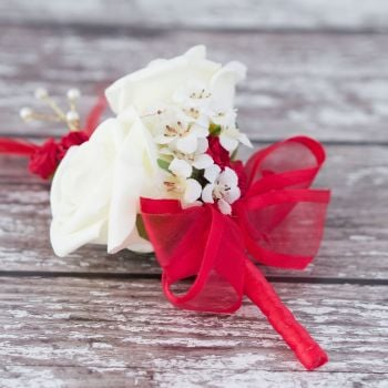 Ivory Roses Red Feathers Gold Pearl Corsage