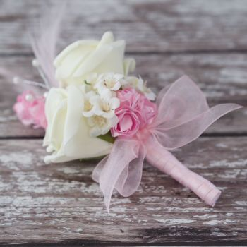 Ivory Roses Pastel Pink Feathers Silver Pearled Corsage