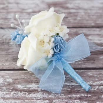 Ivory Rose Pastel Blue Feathers Silver Pearled  Corsage
