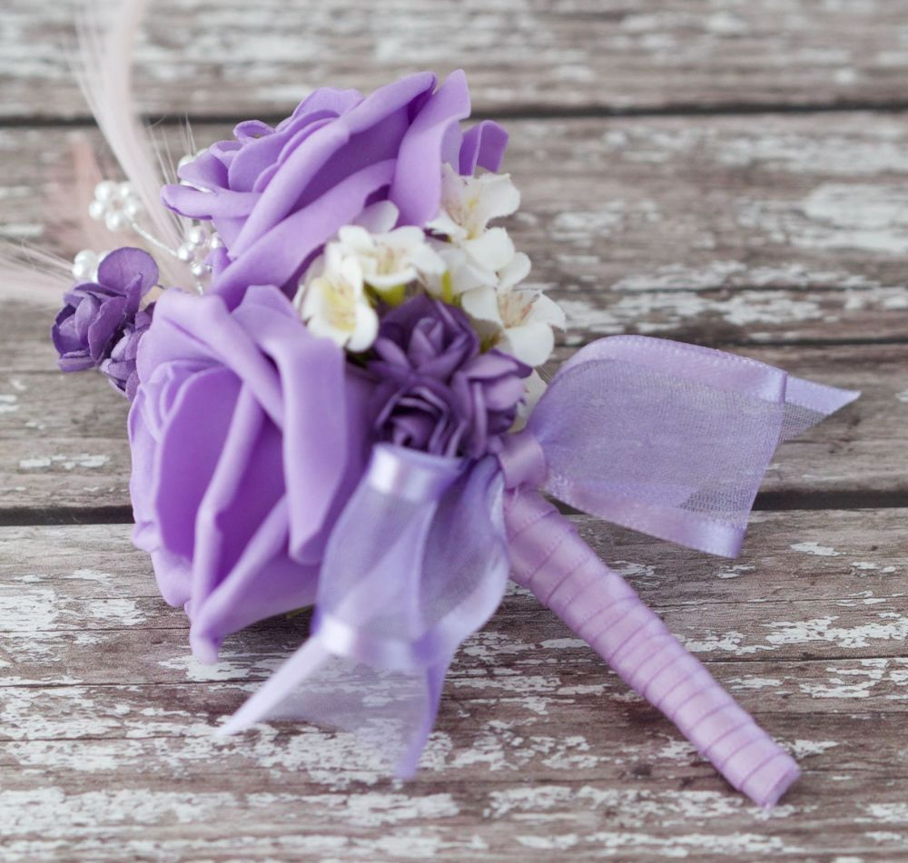 <!--096-->Lilac Foam Roses Lilac Feathers Silver Pearled Wedding Corsage