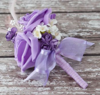Lilac Roses Lilac Feathers Silver Pearled Corsage