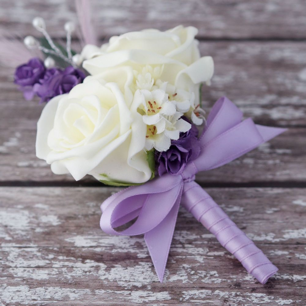 <!--055-->Ivory Foam Roses Lilac Feathers Silver Pearled Wedding Corsage
