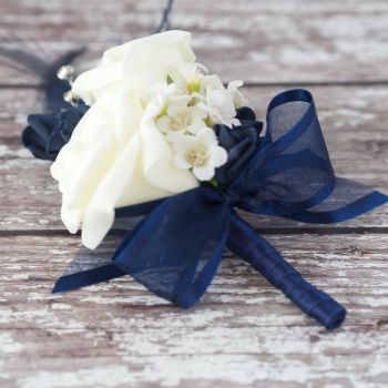 Ivory Roses Navy Feathers Silver Diamante Corsage