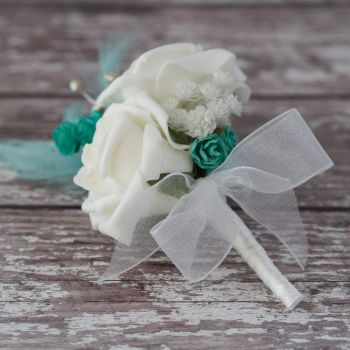 White Roses Turquoise Feathers Silver diamante Corsage