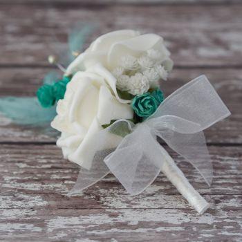 White Rose Turquoise Feathers Silver diamante Wedding Corsage