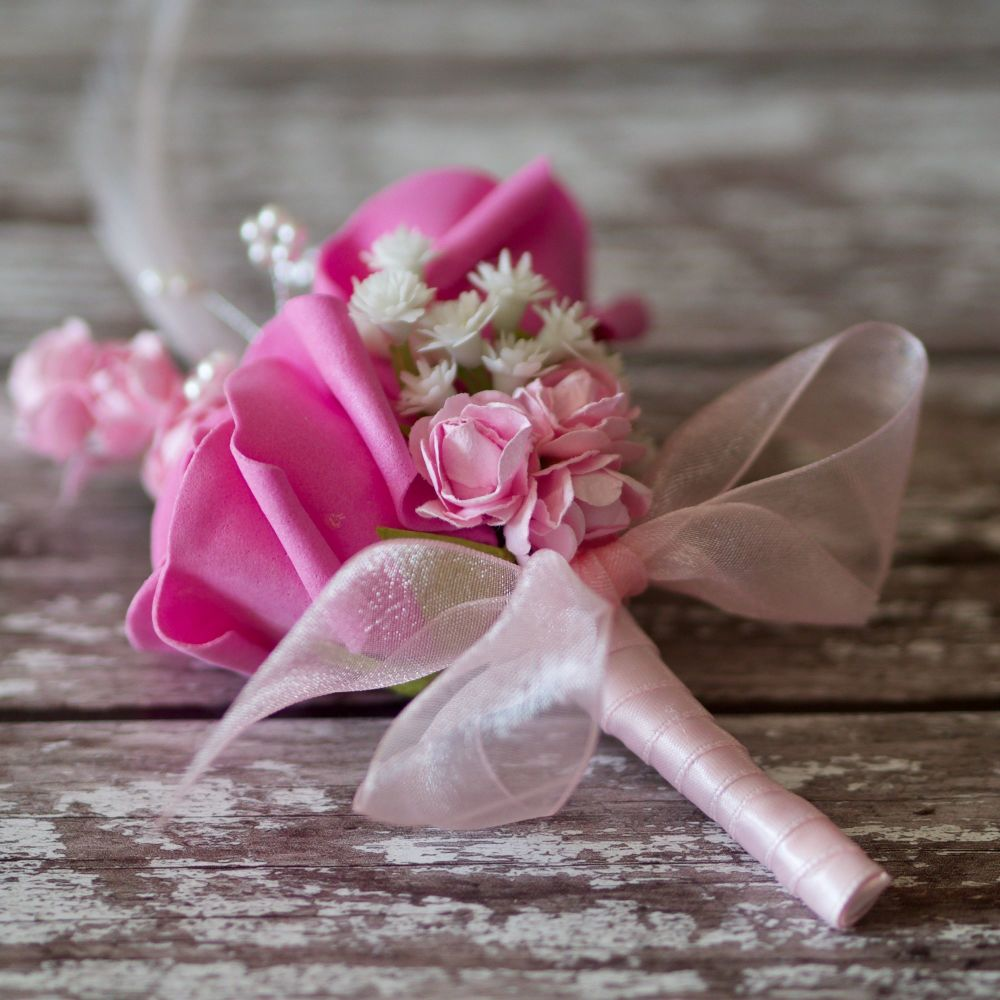<!--0980-->Pink Foam Rose Pink Feathers Silver Diamante Wedding Corsage