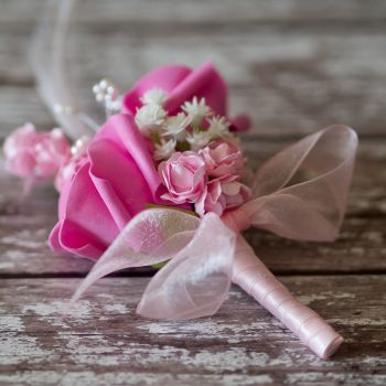 Cerise Pink Rose Pink Feathers Silver Pearled Wedding Corsage