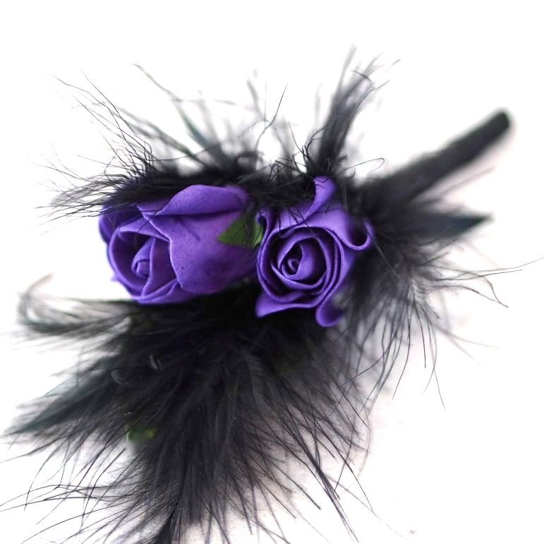 <!--056-->Cadbury Purple Bud Roses Black Feather Gothic Buttonhole