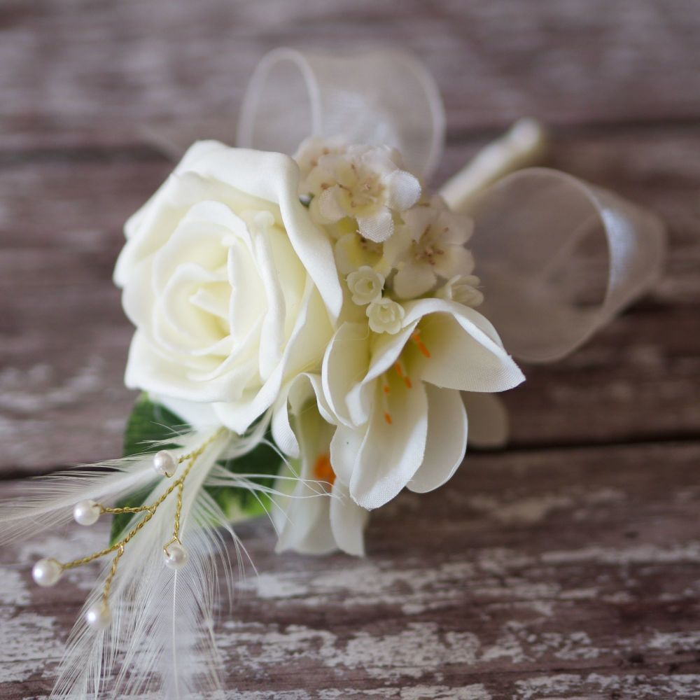 <!--015-->Ivory Rose Silk Freesia Ivory Feathers Silver Pearl  Corsage