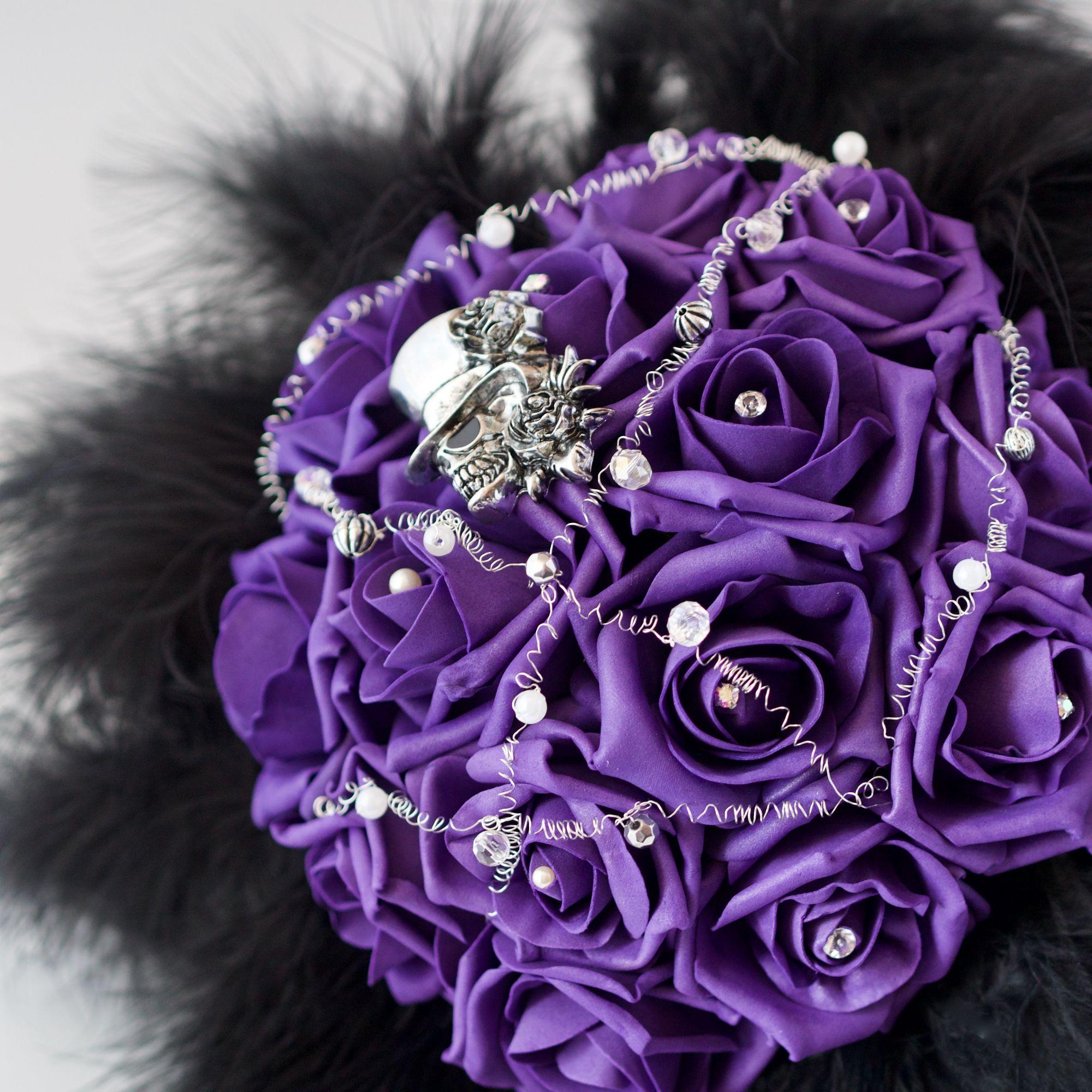 Purple gothic silk bouquet