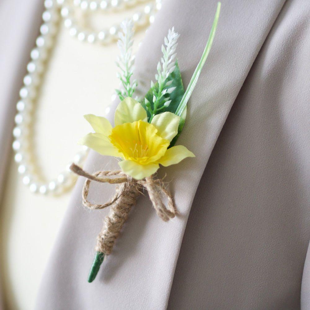 Artificial Daffodil & Heather Silk Flower Twine Stem Buttonhole
