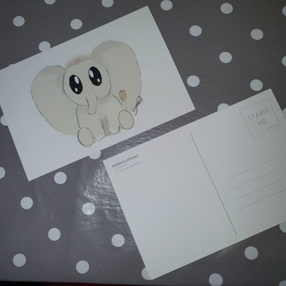 Kawaii Elephant Postcard