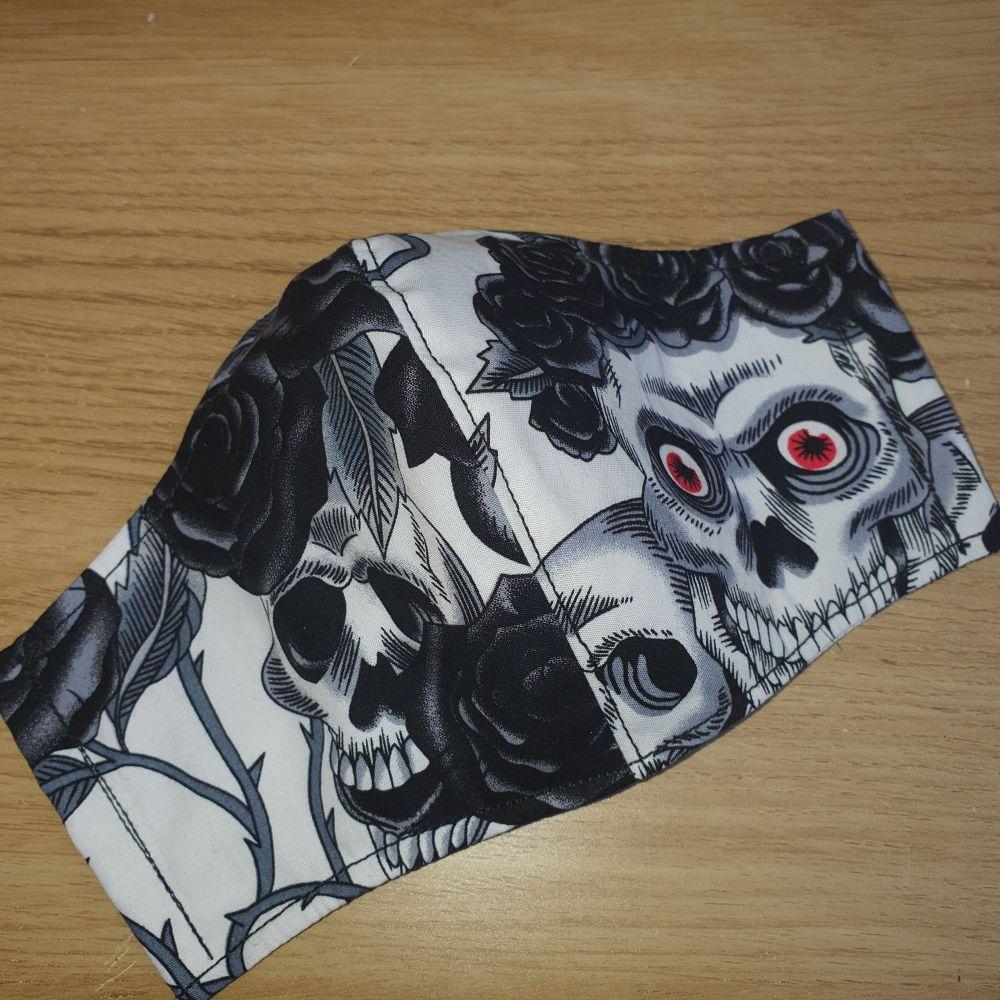 Ninja Style Face Mask - Skulls & Roses - blk (Adult)