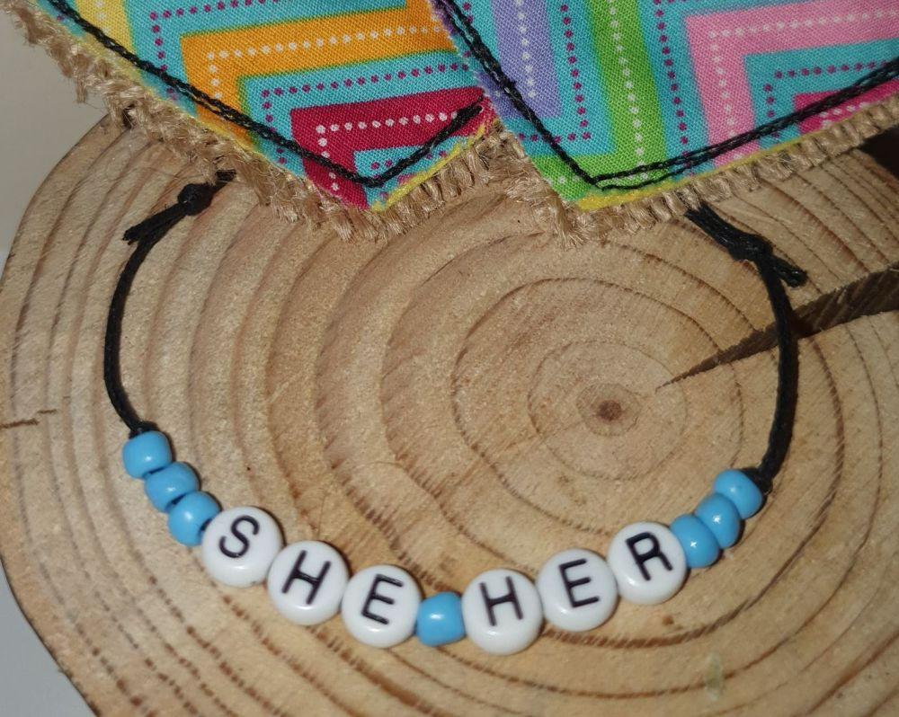 She/Her Bracelet - blue