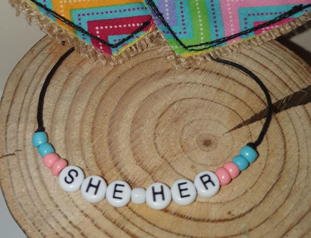 She/Her Bracelet - pink