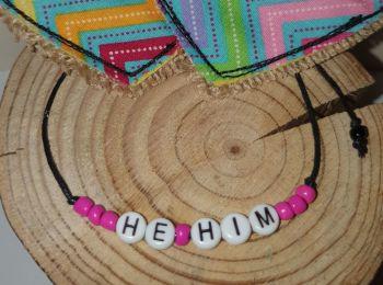 He/Him Bracelet - pink