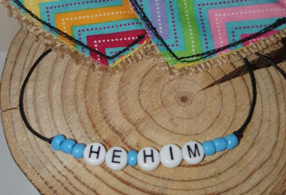 He/Him Bracelet - blue