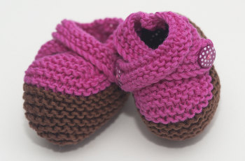 Bright Pink Hand Knitted Double Strap Booties