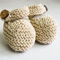 Cream Booties with oak wooden buttons