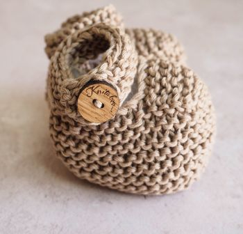 Beige Baby Button Booties