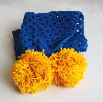Blue Scarf with Yellow Pompoms