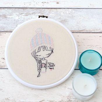 Warm Hands Warm Heart Embroidery Hoop Art