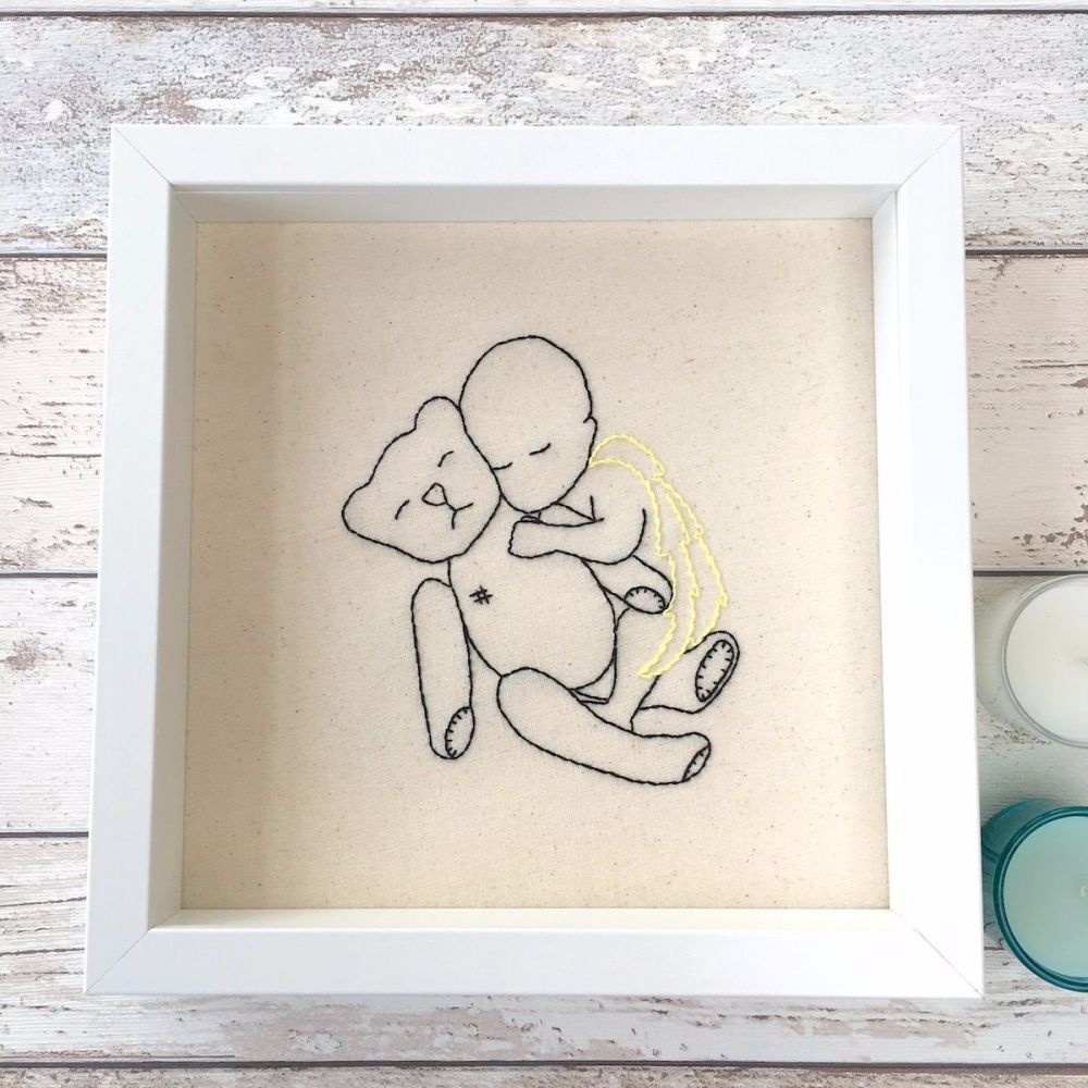 Angel Baby & Teddy Bear Embroidery Picture - JustSewHelen.com
