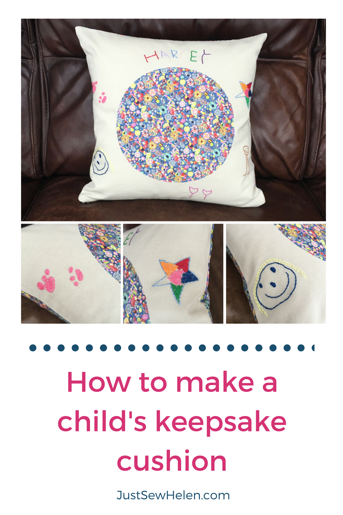How to make a childs keepsake cushion - JustSewHelen.com