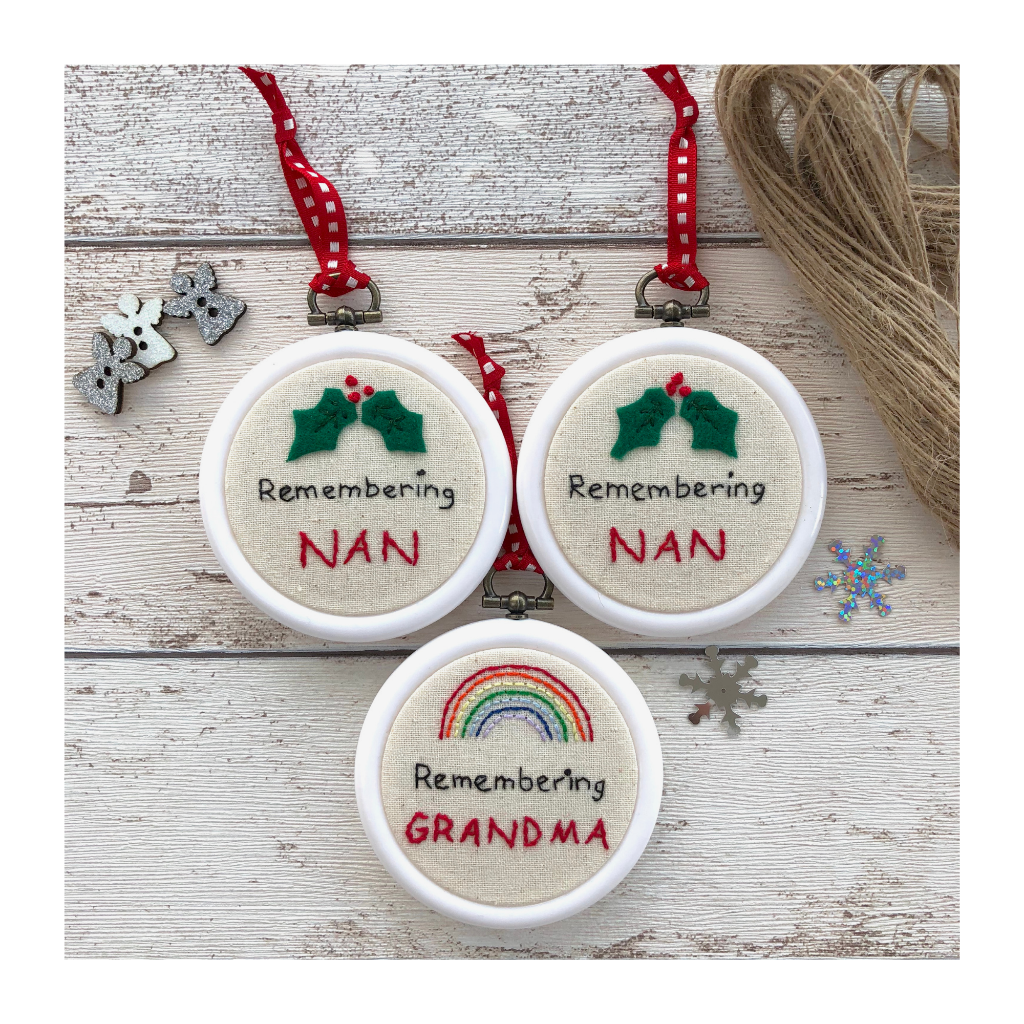 Personalised christmas remembrance hanging hoops