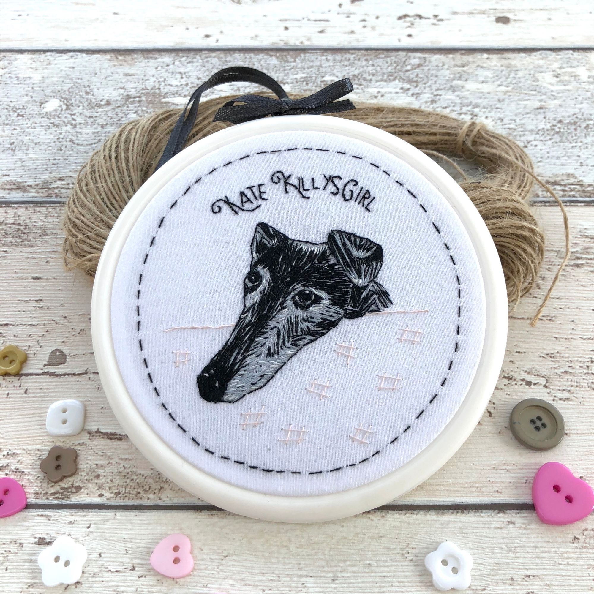 Pet portrait hand embroidered thread painting