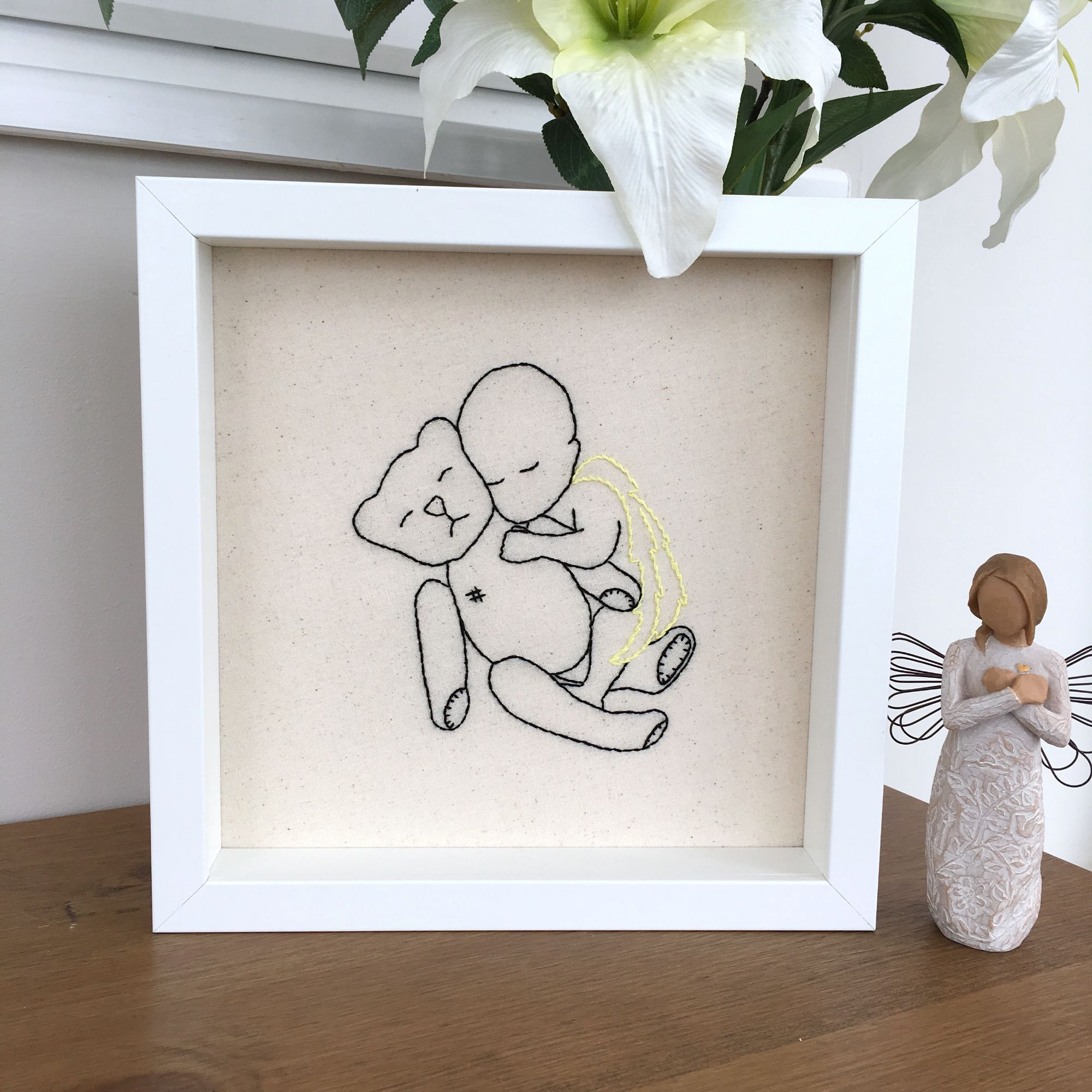 Angel Baby	 & Bear Embroidery	Handcrafted business	Just Sew Helen	Just Sew Helen Bereavement gifts & keepsakes	JustSewHelen.com	Memory gifts & keepsakes	Miscarriage	Remembrance gifts	Thread painting	Twin angels