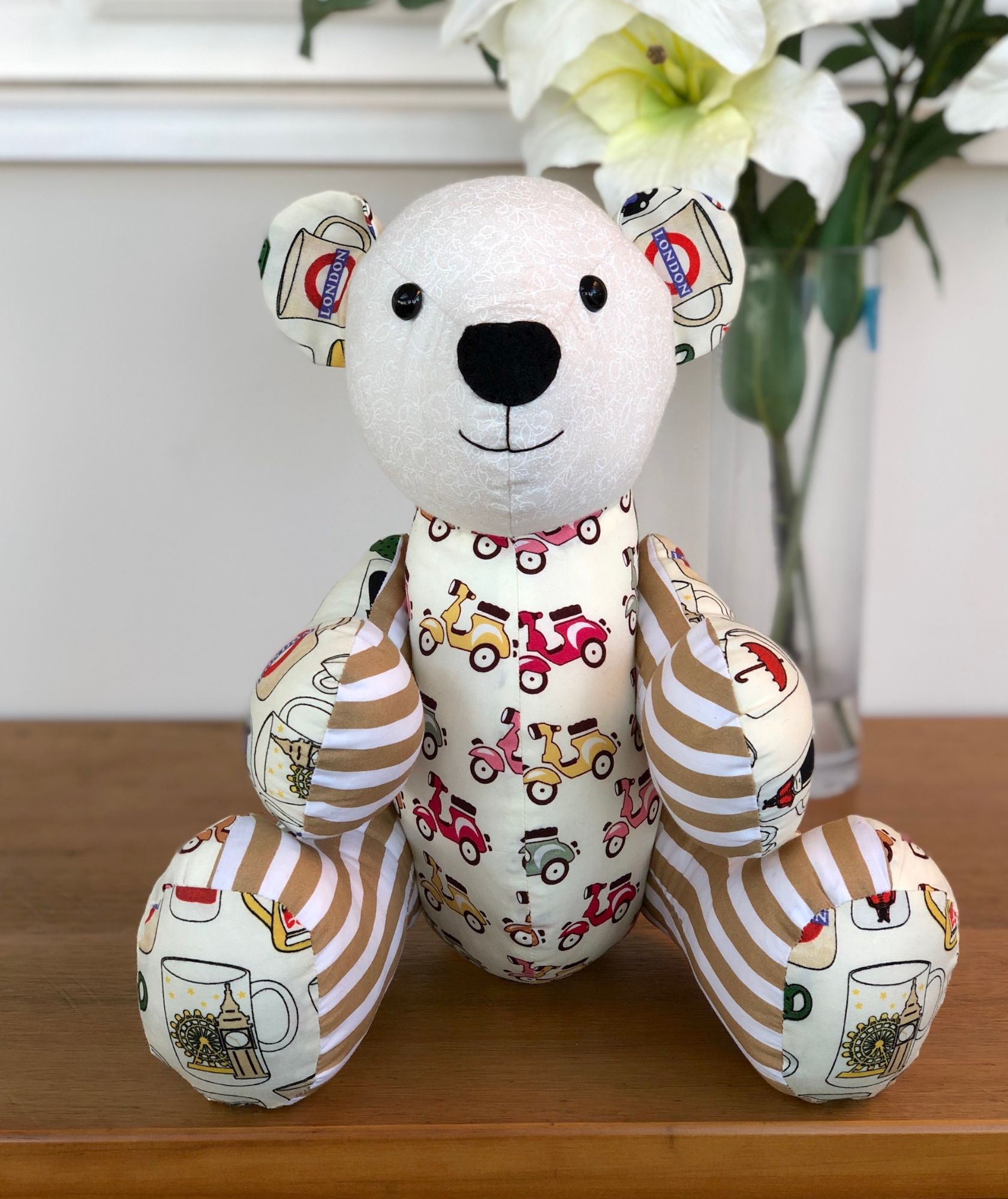 A keepsake bear made with cotton quilting fat quarters