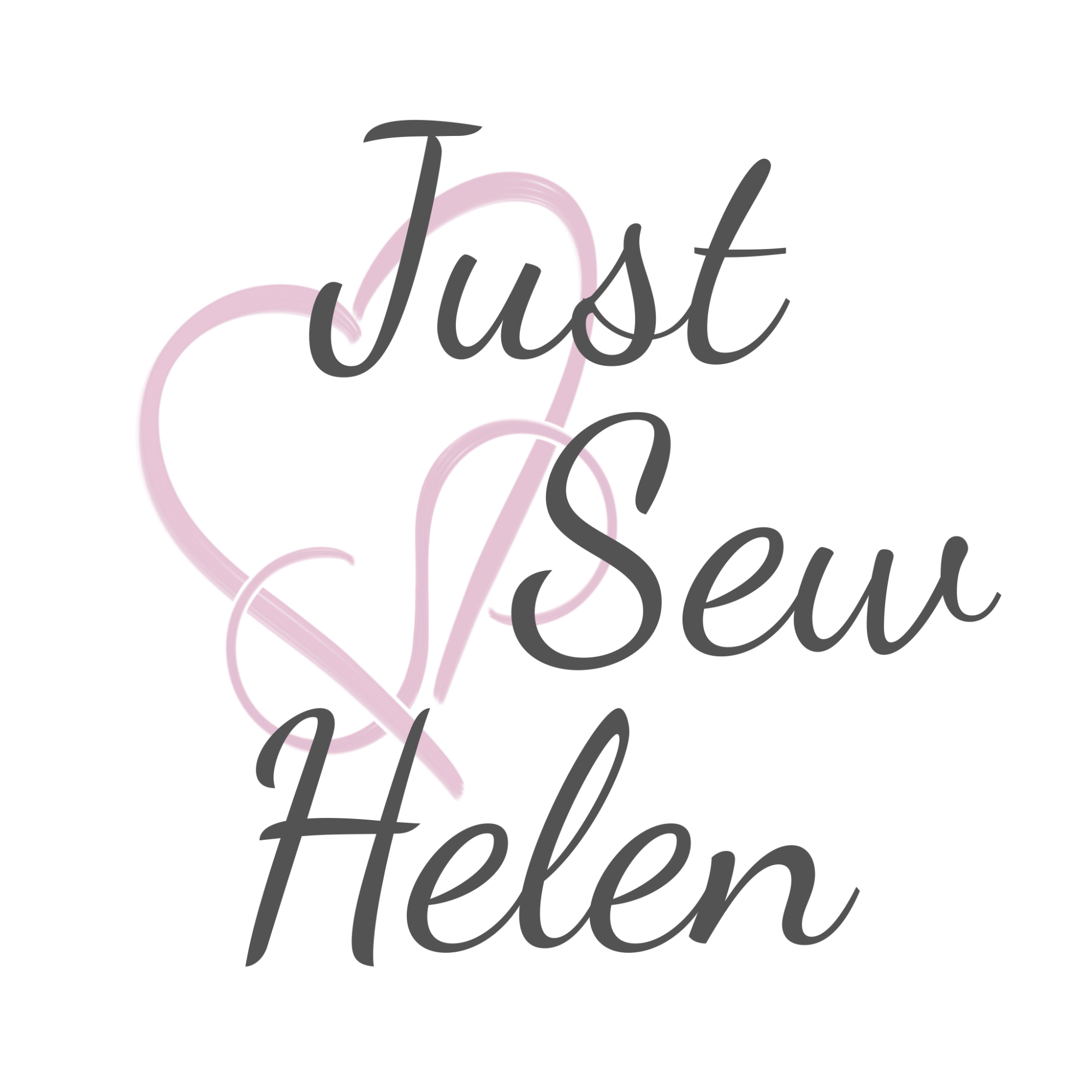 Logo image of a pink heart and pink infinity symbol intertwined and overlain with the business name Just Sew Helen