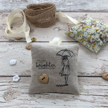 'Brighter Days' Linen & Cotton Lavender Pouch