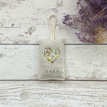 Hugs Heart Lavender Pouch - Yellow Floral Heart